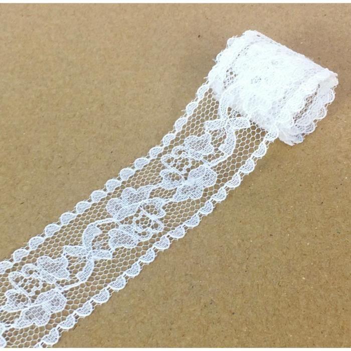 ruban blanc-choix de largeur 1m Bordure de dentelle Hesse naturel