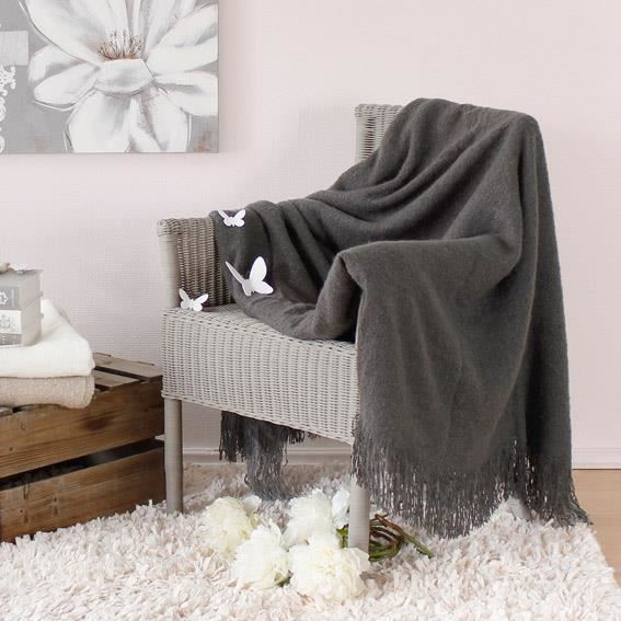 plaid franges effet mohair gris anthracite achat. Black Bedroom Furniture Sets. Home Design Ideas