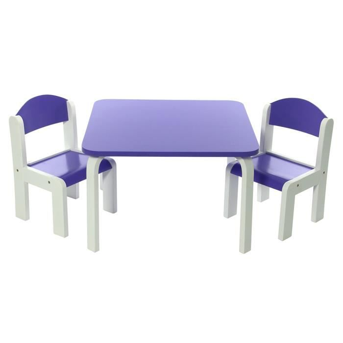 ensemble table et chaises enfant violet en bois fabio momo. Black Bedroom Furniture Sets. Home Design Ideas