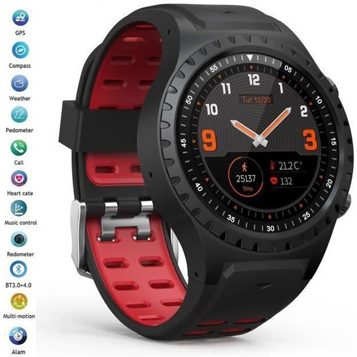MONTRE CONNECTÉE Montre GPS, Montre Connectée Homme Ronde Rouge, Sm