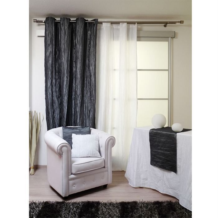 rideaux oeillets bambou gris achat vente rideau bambou polyester polyamide m tal. Black Bedroom Furniture Sets. Home Design Ideas