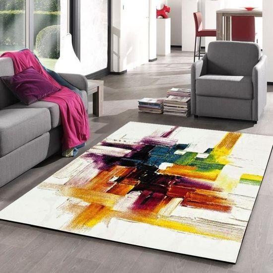 BELIS Tapis de salon contemporain 120x170 cm blanc, orange et vert