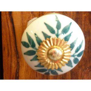 POIGNÉE - BOUTON MEUBLE Boutons porcelaine fleurs vertes