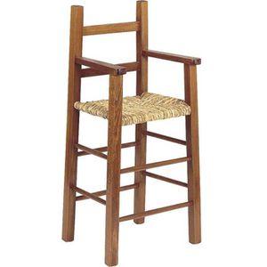 CHAISE HAUTE  Chaise haute pour enfant en hêtre foncé verni