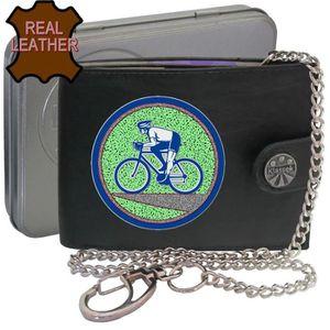 Men/'s RFID Signal Blocking Moto Motard Noir Trifold Wallet avec chaîne