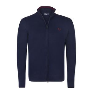 PULL Fred Perry Homme Pull Fermeture Eclair Bleu Marine
