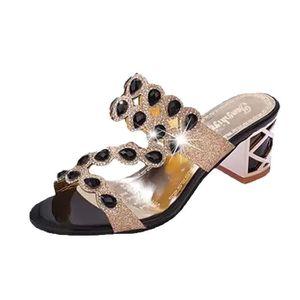SANDALE - NU-PIEDS Mode d'été Femmes Gros Filles à strass sandales de