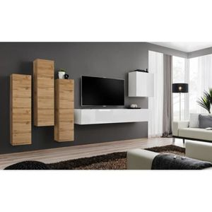 MEUBLE TV Meuble TV mural SWITCH III design, coloris blanc b