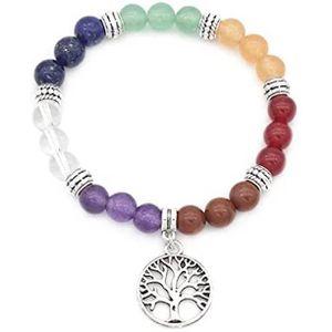 BRACELET - GOURMETTE Bracelet Charm Arbre de Vie Chakras Argent Tibétai