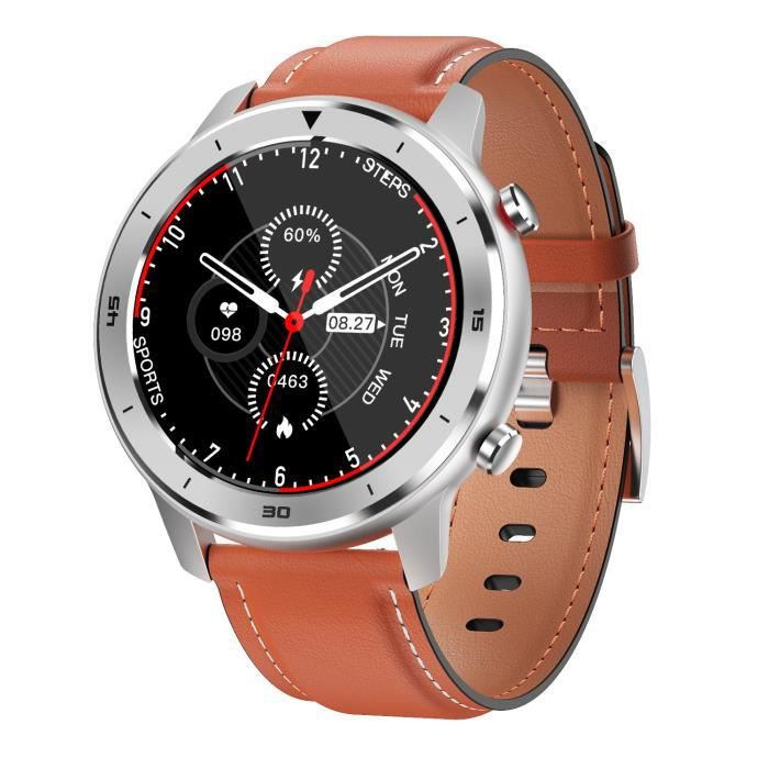 DT78 Smart Watch Sports Smartwatch Fitness Bracelet B1.3 pouces Plein Écran Tactile 230mAh Batterie IP68 Bracelet en cuir orange