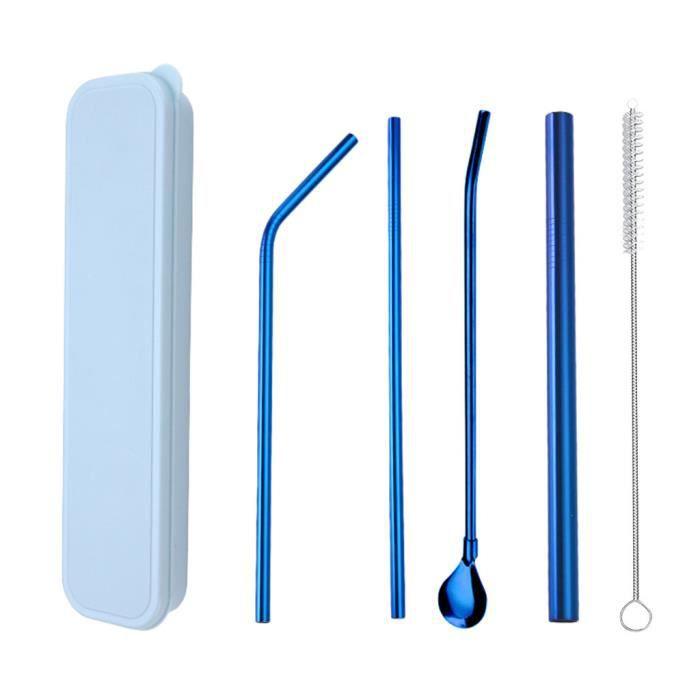 Ensemble coloré de paille en acier inoxydable 304 boîte bleue Ensemble de 4 pièces de paille bleue