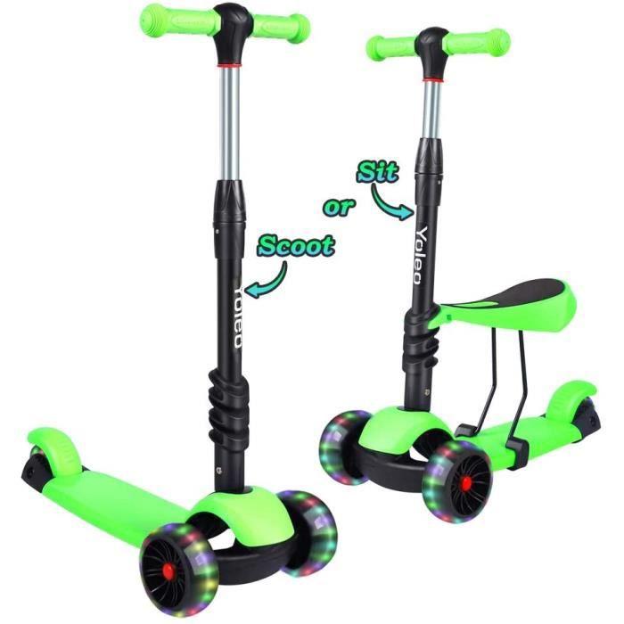 Trottinettes 3 Roues Scooter pour Enfants, Hauteur Ajustable sur 3, à Rouler avec LED Roues pour Enfants de 2 à 8 Ans