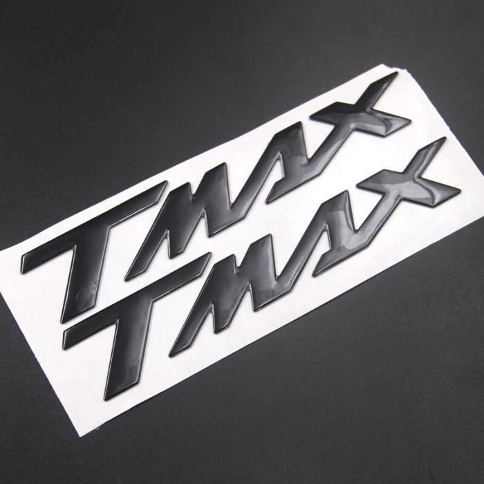 Autocollant avec Logo 3D «TMAX» pour YAMAHA TMAX530, argent, noir, rouge, bleu, or, Badge emblème de moto, roue de Black -THJR169