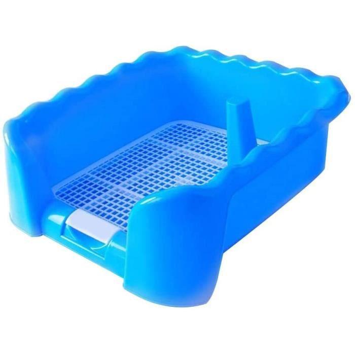 Bac de Toilette Portable pour Animal Domestique avec clôture pour Chiens, Utilisation en intérieur ou en extérieur, Bleu