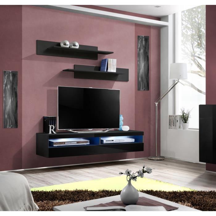 PRICE FACTORY - Meuble TV FLY design, coloris noir brillant. Meuble suspendu moderne et tendance pour votre salon.