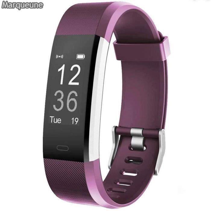 Montre Connectée Smartwatch Marqueune Etanche IP68 Podomètre pour iPhone Samsung Huawei Smartphone Femme Homme Violet