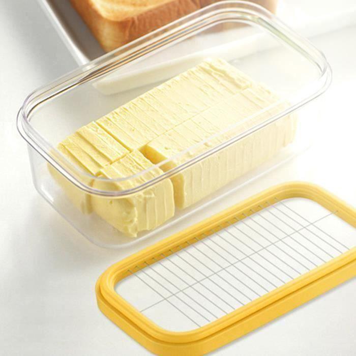 Boîte à beurre Boîte à fromage Coupe de conserves fraîches Boîte de rangement scellée, Beurrier en verre avec conteneur 17 x10 x7 CM