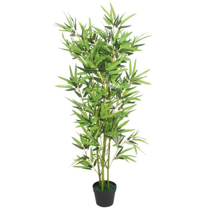 Plante artificielle-Arbre Artificiel Convient pour Intérieur ou Extérieur avec pot Bambou 120 cm Vert☺9797