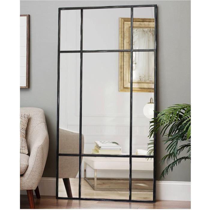 Miroir sur Pied en métal Noir-Argent - Miroir Long rectangulaire [160 x 60 x 3cm] - Design Danois - Miroir de Chambre sur Pied -,357
