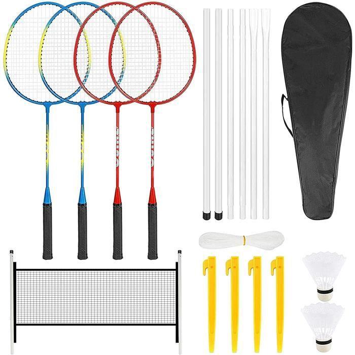 Ensemble de Raquettes de Badminton à 4 Joueurs avec 2 Volants Sac de Transport et Filet de Badminton Jeux de Loisirs en Famille 88