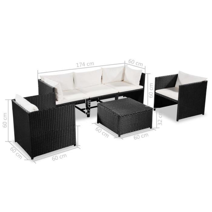 Ensemble de salon de jardin confortable de 6 pièces avec coussins en poly rotin noir pour l'extérieur HB069