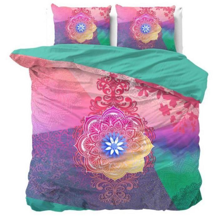 NANDO Housse de Couette 240x220+2 Taies Oreiller 60x70-100% Coton Parure de Lit Set 3pcs Mandala Oriental Turquoise Rose Violet