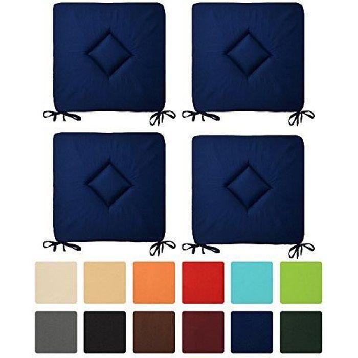 Beautissu Lot de 4 Galettes de Chaise Kim 40x40x3cm Bleu foncé - Coussin confortable et coloré - Idéal Intérieur Extérieur