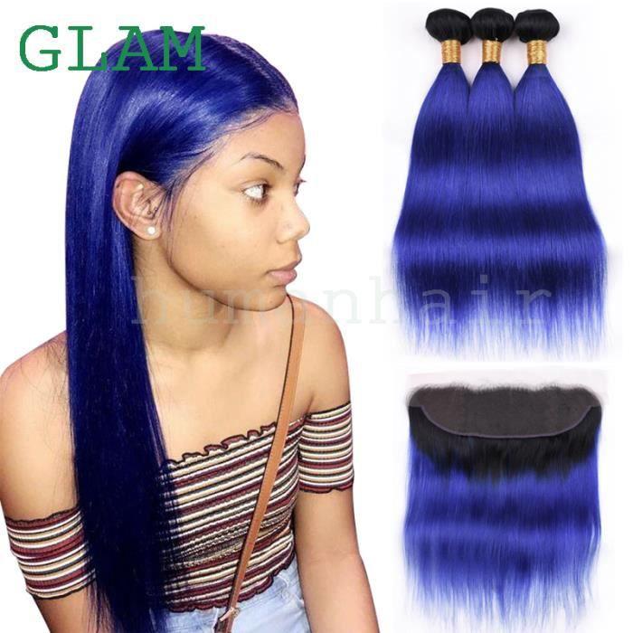 Tissage 3 piece 1b / bleu cheveux lisses cheveux humains vierge brésilienne 24 pouce avce 13x4 frontal 20 pouce