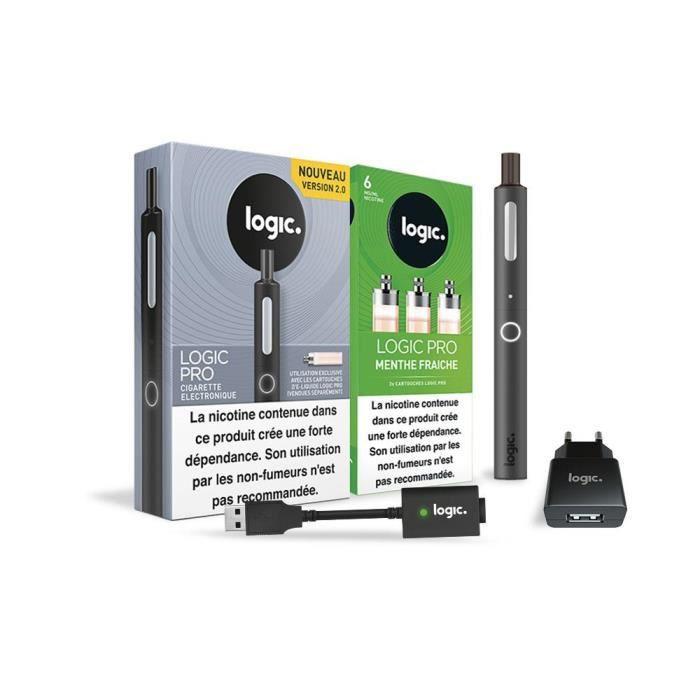 Logic PRO - Cigarette électronique Noir + 3 cartouches Menthe Fraiche 6 mg + Chargeur USB et mural