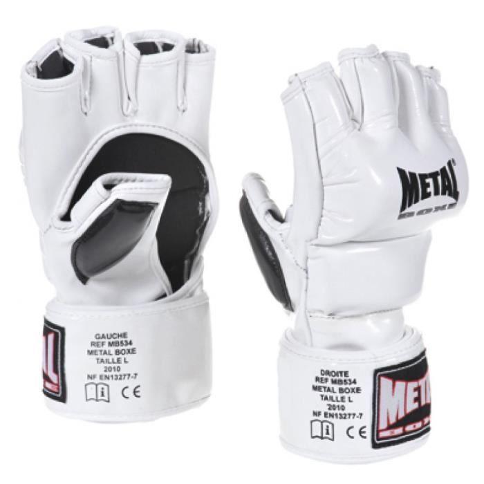 Gants combat libre competition Metal Boxe blanc - XS