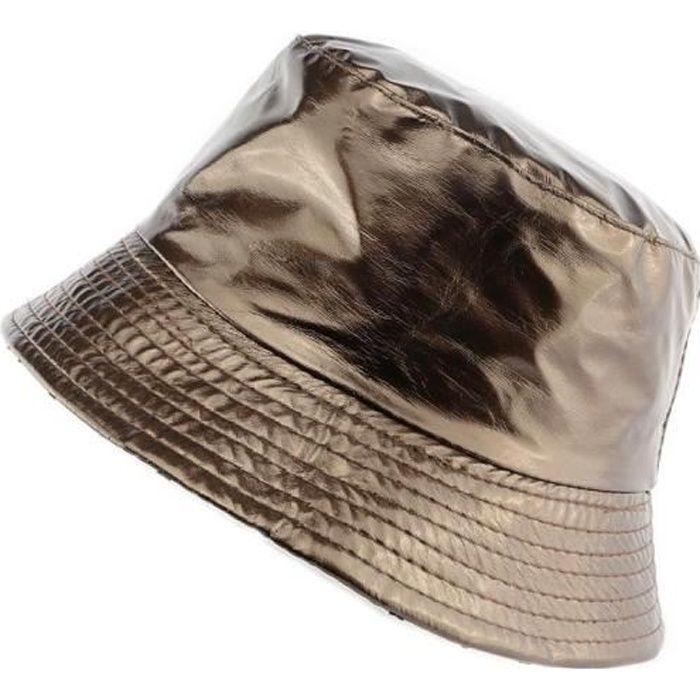 Chapeau de pluie Femme coloris marron brillant - Bob imperméable réversible sur un tissu blanc pois noir référence Maud collectio...