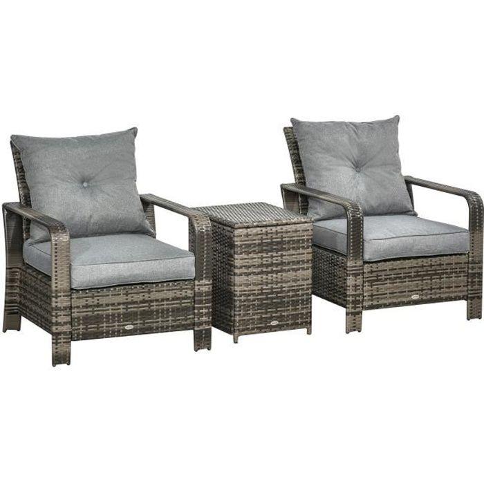 Ensemble de 2 fauteuils de jardin grand confort table basse coffre résine tressée imitation rotin coussins gris 73x82x87cm Gris