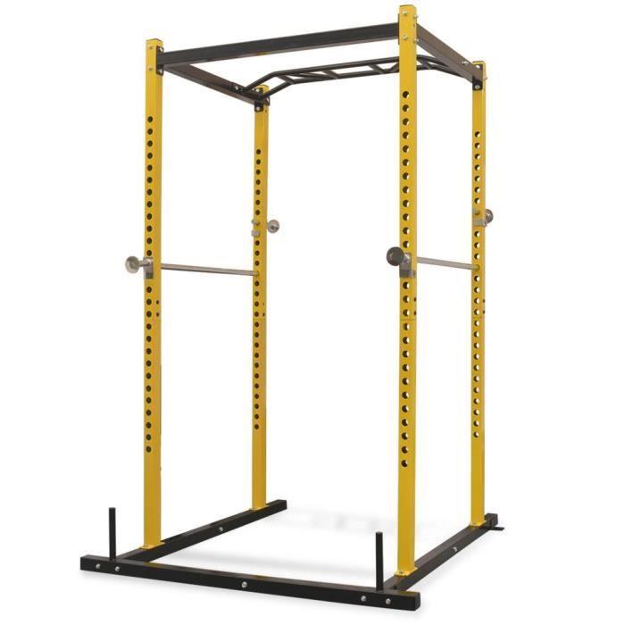 Rack de musculation fitness Cage de Musculation 140 x 145 x 214 cm jaune et noir