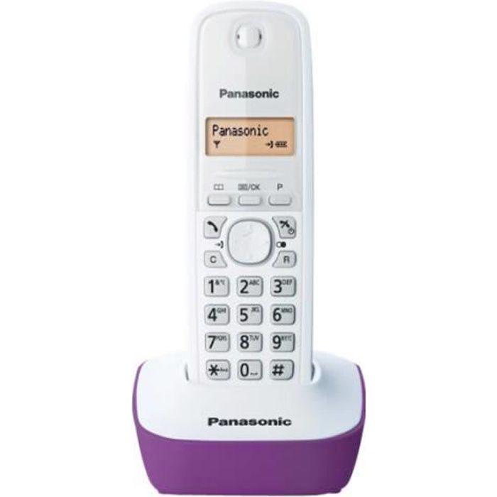 Panasonic KX-TG1611FXF Téléphone sans fil avec ID d'appelant DECT blanc, violet