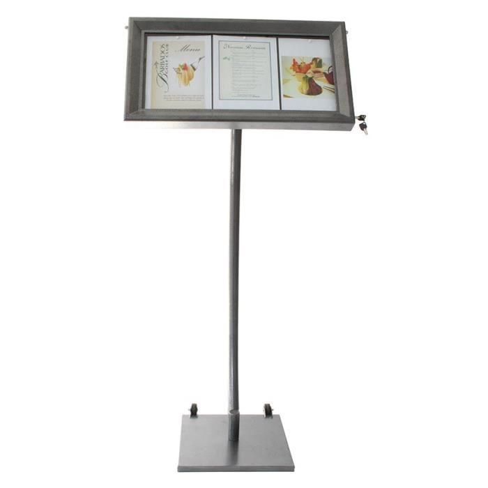 Porte-menu LED gris métallisé format 3 x A4 avec pied hauteur 135 cm - Présentoir menu hôtel restaurant 40 Acier Inoxydable