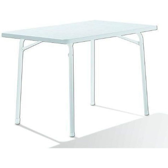 SIEGER Table de Jardin Rectangulaire Acier Blanc 115 x 70 x 72 cm - 120/W