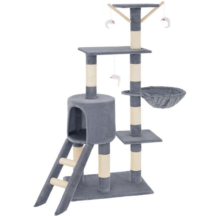 TECTAKE Arbre à chat 142 cm DOMINIQUE Griffoir 3 Souris + 1 Hamac Gris