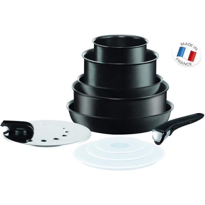TEFAL INGENIO PERFORMANCE - Batterie de cuisine 10 pièces - Noir - Tous feux dont induction