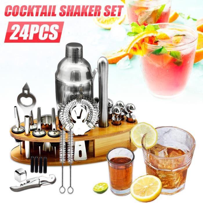 TEMPSA 24PCS Kit Cocktail Shaker Mélangeur Outil En Acier Inoxydable 750ML