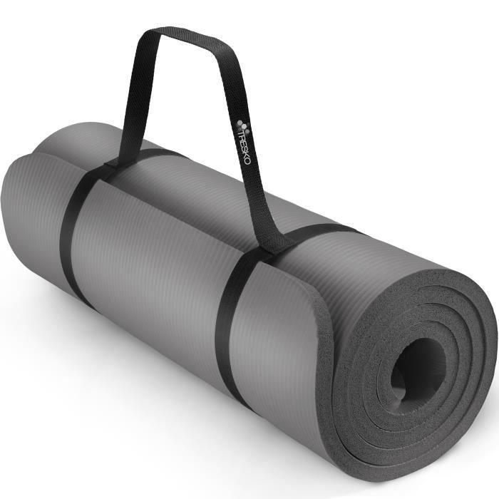 TRESKO Tapis d'exercice fitness yoga pilates gym, en Mousse NBR (185 x 60 x 1,5cm) Gris
