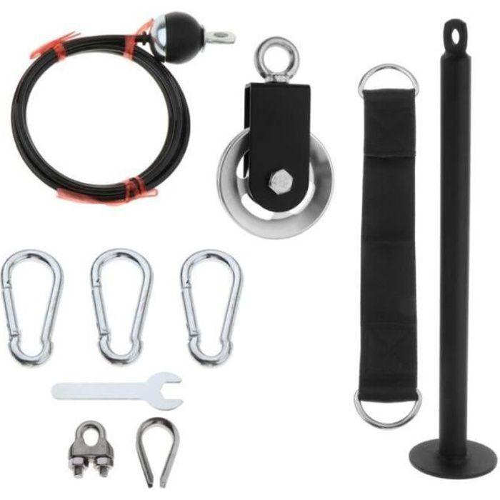 PC43082-Musculation Poulie Rouleau de Poignet Résistance Exercice avant Bras Epaules Dos Accessoire Système de Poulie Câble de 6 m