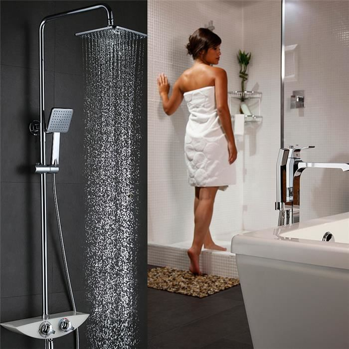 colonne de douche thermostatique socle en r sine de qualit mitigeur douche pour baignoire. Black Bedroom Furniture Sets. Home Design Ideas