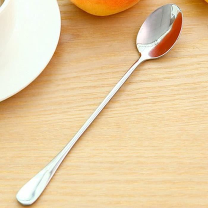 Poignée longue en acier inoxydable thé cuillères à café crème glacée couverts w