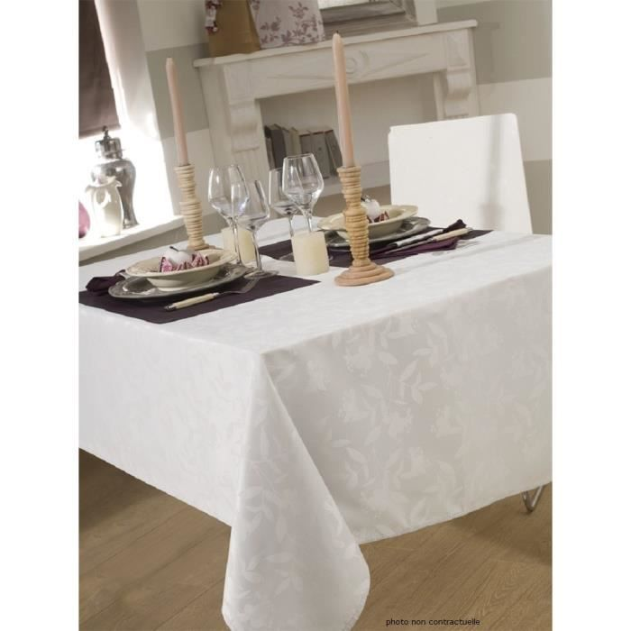 nappe en tissu ovale 180x240 cm ombra damass blanc achat vente nappe de table soldes d. Black Bedroom Furniture Sets. Home Design Ideas
