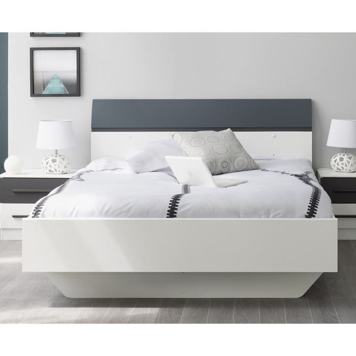 axel lit adulte 140x190cm blanc gris achat vente. Black Bedroom Furniture Sets. Home Design Ideas