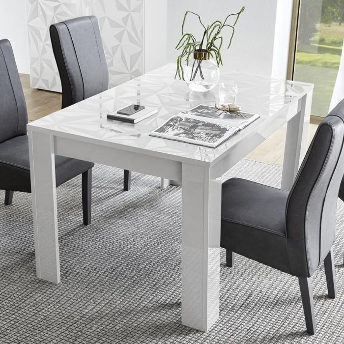 Table extensible 140 cm blanche laquée design ANTONIO L 185 x P 90 x H 79  cm Blanc