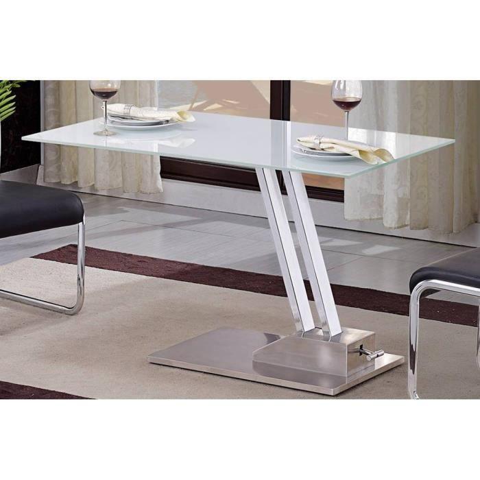 Table Basse Relevable Step En Verre Sérigraphié Blanc