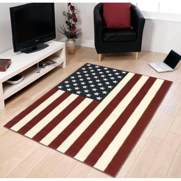 tapis usa drapeau am ricain 140x200cm rouge achat. Black Bedroom Furniture Sets. Home Design Ideas
