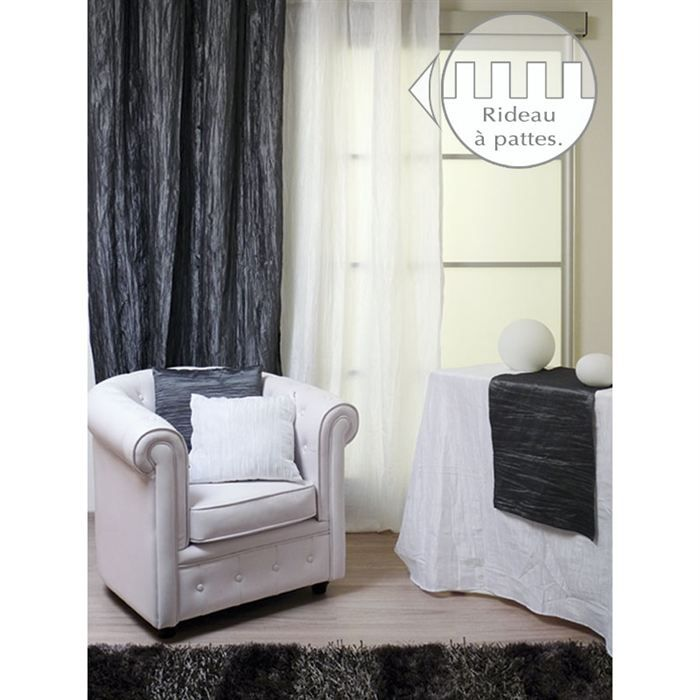 rideau a pattes 140x250 bambou gris effet froisse achat vente rideau bambou 100 polyester. Black Bedroom Furniture Sets. Home Design Ideas
