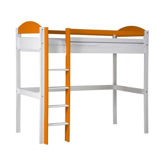 lit mezzanine maximus 90x190 blanc lasure orange achat. Black Bedroom Furniture Sets. Home Design Ideas